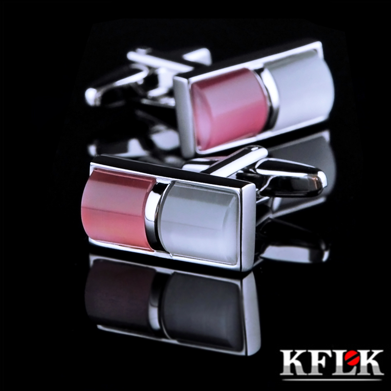 Kflk Jewelry Shirt Cufflink For Mens Brand Pink Cuff Link Wholesale Button Male High Quality Luxury Wedding Groom Free Shipping