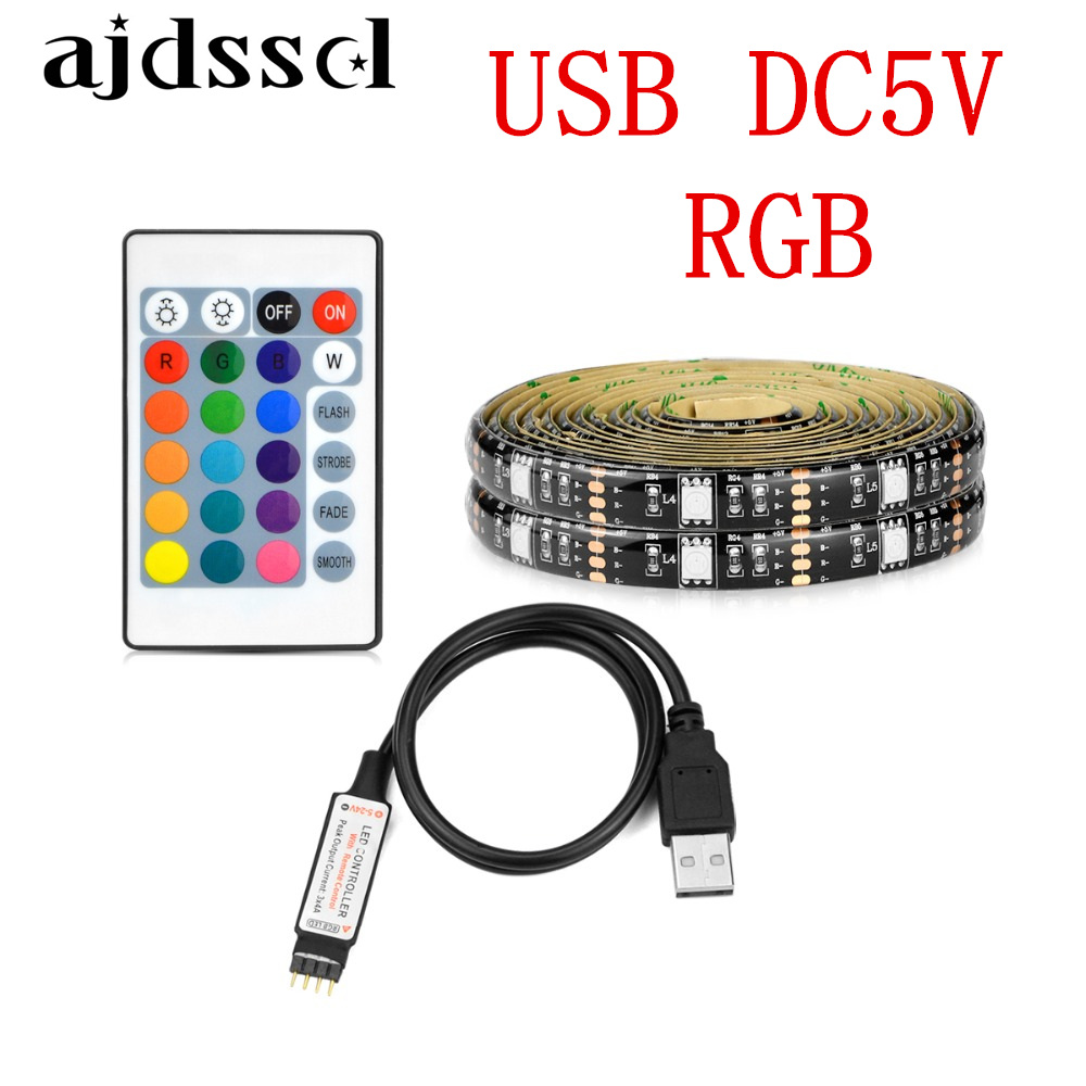 24Key Remote Control RGB Flexible LED Strip Light 50cm to 5m Waterproof 5V USB 5050 SMD 60LEDs/M Bar Car TV Decoration Lighting