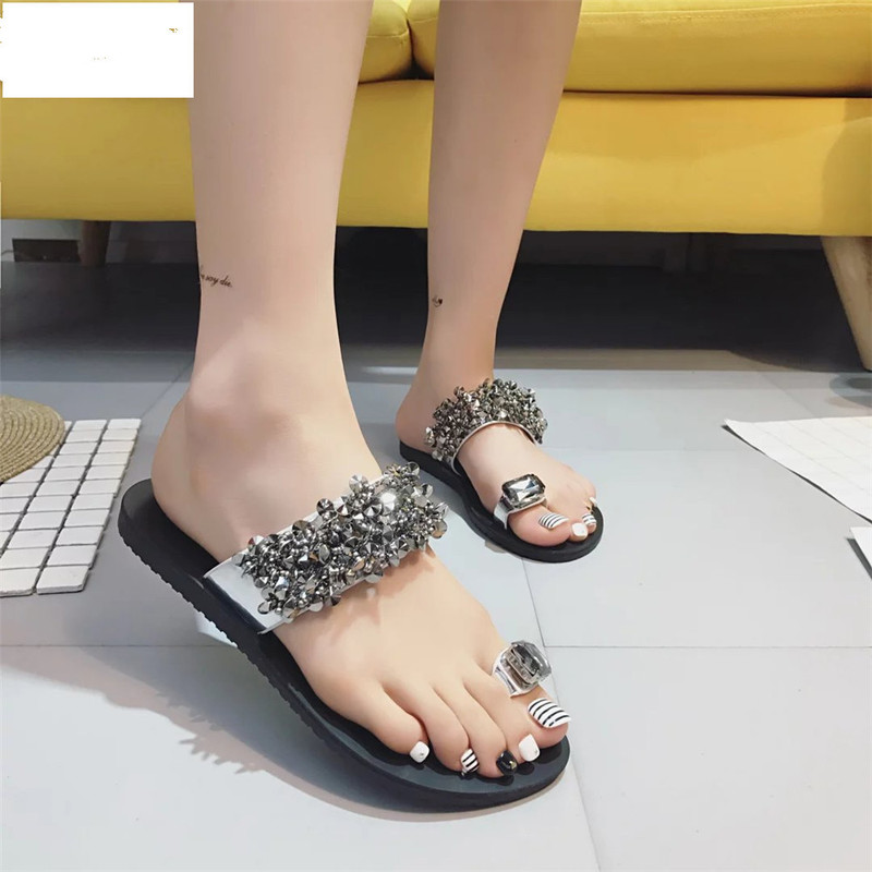 2018 Women Sandals Flip Flops New Summer Fashion Rhinestone Wedges Shoes Crystal Lady Casual Shoes size 35-392018 Women Sandals Flip Flops New Summer Fashion Rhinestone Wedges Shoes Crystal Lady Casual Shoes size 35-39