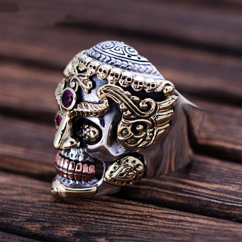 MetJakt-Punk-Rock-Domineering-Skull-Rings-Set-In-Red-Corundum-Solid-925-Sterling-Silver-Ring-for
