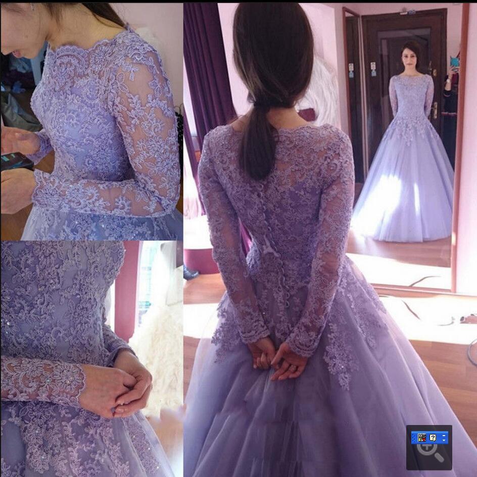 Lavender Long Sleeve Wedding Dress