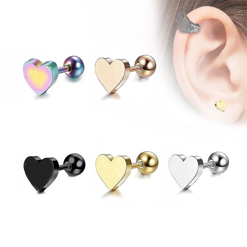 Women stainless steel Heart Shape Screw Stud Earrings Piercing Jewelry Tragus Earrings Cartilage Helix Ear Bone Nail Nose Stud