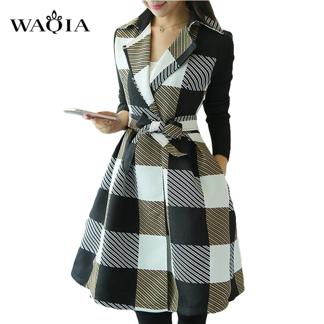 Plus Size XL XXL 2017 Women Coat Autumn Winter New Fashion Plaid Slim Women Coat Warm Outerwear Long Plaid Trench with Belt