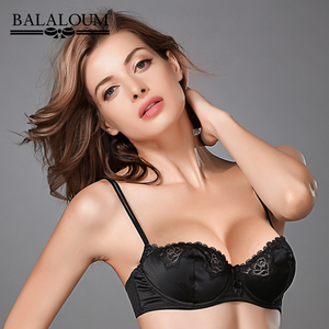Image 2 - BALALOUM Women Bra Sexy Floral Lace Transparent Ultra Thin Bowknot Brassiere Push Up Demi Cup Lingerie Underwear Black Red Pink