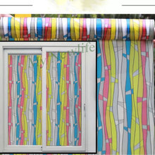 Stained striped river window sticker Film on glass self-adhesive film for furniture Decorative films 90*500cm