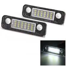 2pcs For Ford Mondeo MK2 Fiesta Fusion 12V Car License Plate Light SMD 3528 White Lights 18 LEDs Lamp External Replace Bulb