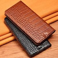 Crocodile Texture Phone Case Cover For Huawei Honor V8 V9 V10 V20 Genuine Cowhide Leather Flip Stand Phone Case Bag