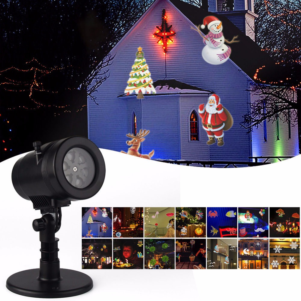 14 Patterns Christmas Laser Snowflake Projector Outdoor LED Waterproof Disco Lights Home Garden Projection Indoor Decoration christmas laser lights outdoor projector motion 12 xmas patterns waterproof ip65 rf remote for garden landscape decoration