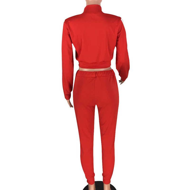 2 点セット長袖ストライプジョギングパンツプラスサイズのトラックスーツ女性のトラックはレジャースウェットスーツ赤アンサンブルファム