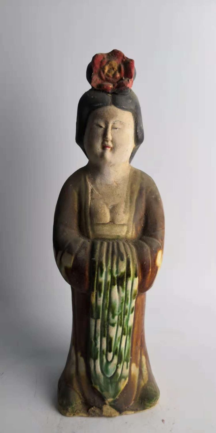 Elaborate Chinese Tang sancai pottery unearthed ancient collection women's statue