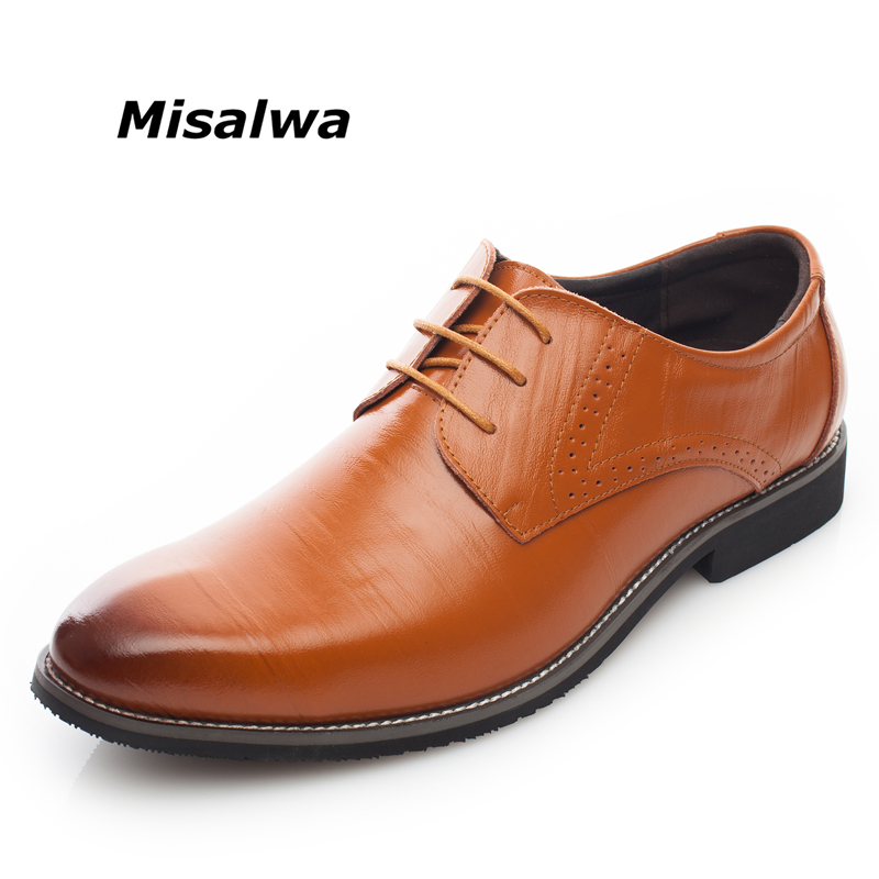 Misalwa Yellow Brown Blue Men Leather Dress Shoes Business Formal Men Office Lace-up Oxford Shoes Form Men Plus Size 38-48 hot sale mens genuine leather cow lace up male formal shoes dress shoes pointed toe footwear multi color plus size 37 44 yellow