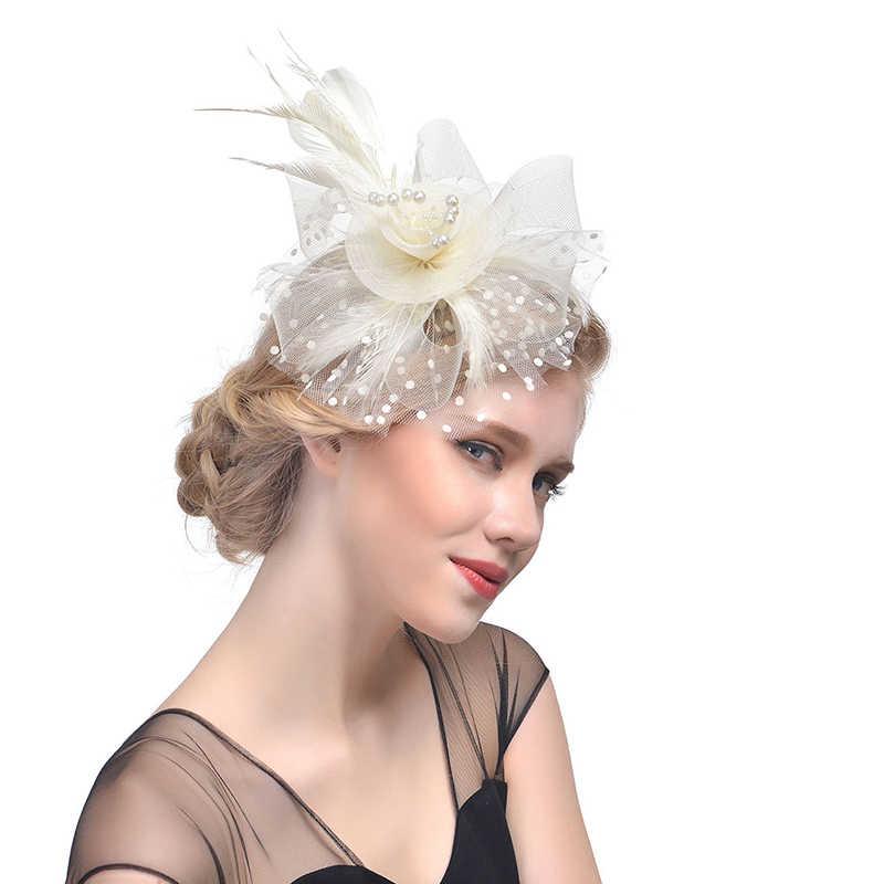 2019 Dames Tovenaar Hoeden Veer Mesh Wedding Hoeden en Fascinators voor Vrouwen Elegante Kerk Hoeden Top Hat Haar Clip Hoofdband