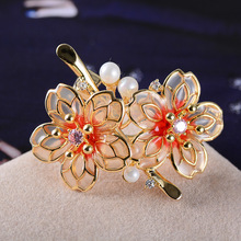 FARLENA Jewelry New Style Enamel Transparent flower Corsage Pins with Simulated Pearl Fashion Zircon Crystal Brooches for Women