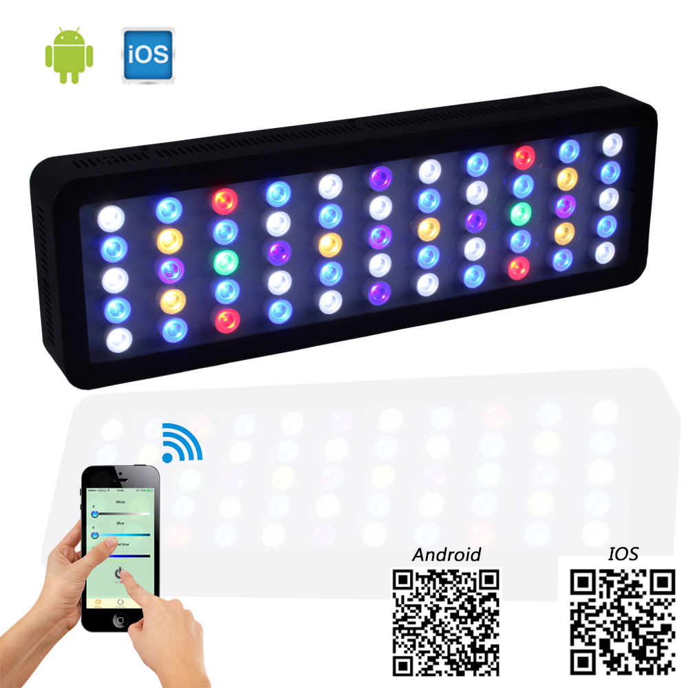 Lengthening 165w Wifi/APP control Led Aquarium light 3500LM Dimmable Specifically for Fish tank and Marine landscape lighting populargrow wifi 165w aquarium light for reef coral fish with dimmable and wifi function marine light best for tank