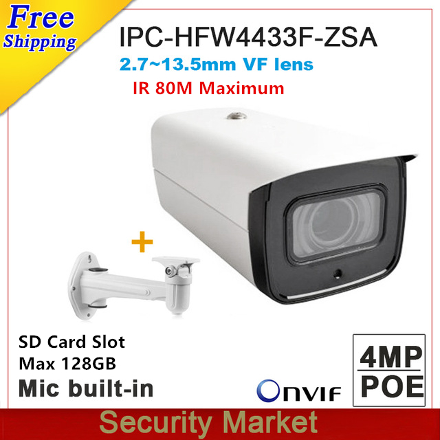 Original Dahua IPC-HFW4433F-ZSA Replace IPC-HFW4431R-Z 4MP Starlight 2.7mm ~13.5mm VF Motorized Built-in MIC Poe IP Camera