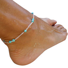 Womens Fashion Turquoise Beads Infinity Alloy Anklet Ankle Bracelet Foot Chain  5K4E