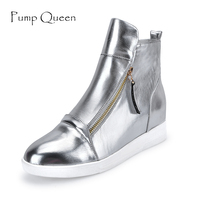 New Arrival Women Wedges Ankle Boots Spring Autumn Height Increasing Heel Shoes Flat Platform PU Leather