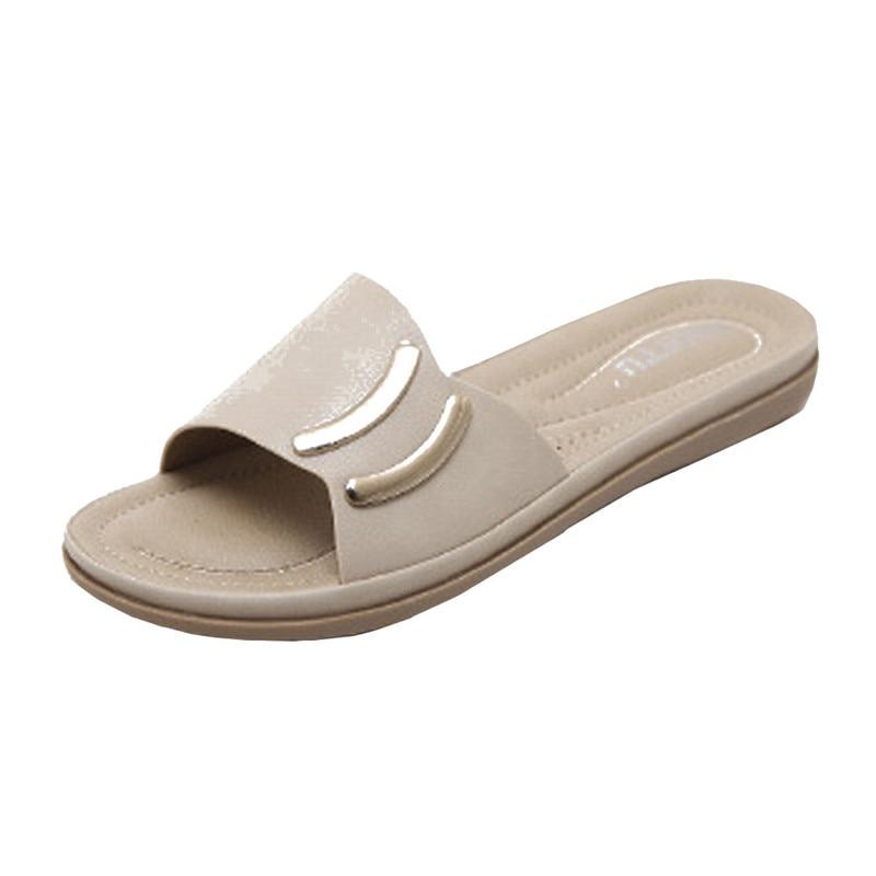 Летние модные женские туфли босоножки на плоской подошве шлепанцы Для женщин S Повседневные кожаные босоножки Обувь открытый слайды пляжна...