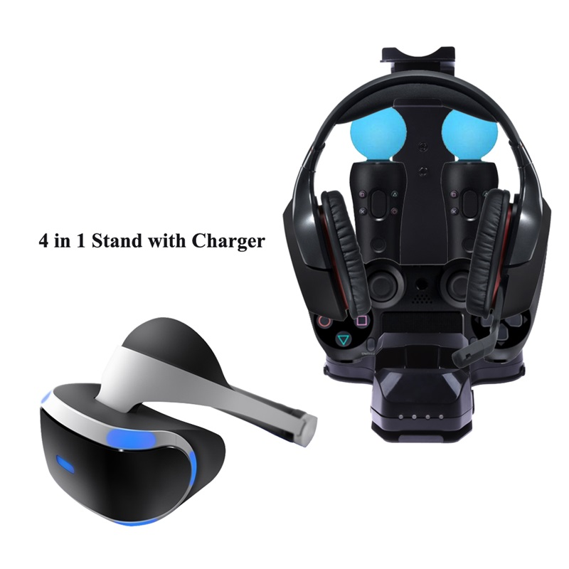 4 in 1 Game Stand with Charger Charging Station Stand Holder for PS4 PlayStation PS Headset Move Controller image