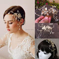 Cheap 2015 Gold Crystal Hair Accessories One Layer Bead Edge Flower Crystal Tiaras Sparkly Bride Hair combs Bridal Accessories