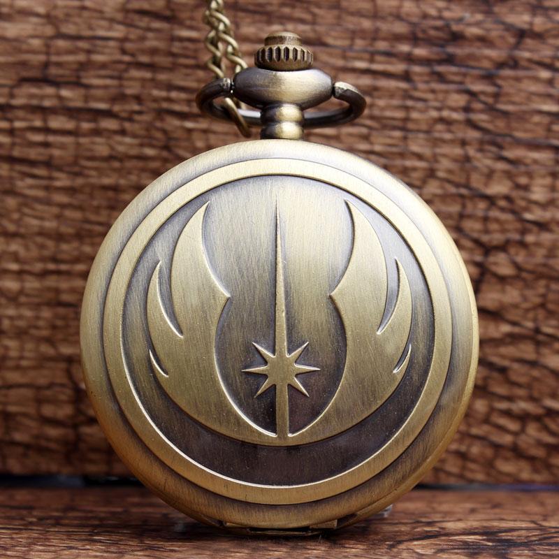 New Fashion Bronze STAR WARS Jedi Knight Pocket Watch Famous Movie Analog Quartz Pocket Watch Women Mens FOB Necklace Chain Gift