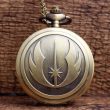 New Fashion Bronze STAR WARS Jedi Knight Pocket Watch Famous Movie Analog Quartz Pocket Watch Women Mens FOB Necklace Chain Gift