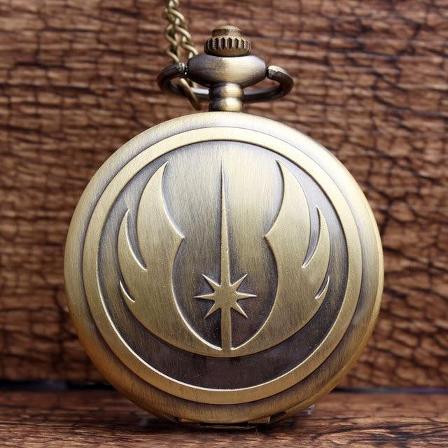 New Fashion Bronze STAR WARS Jedi Knight Pocket Watch Famous Movie Analog Quartz