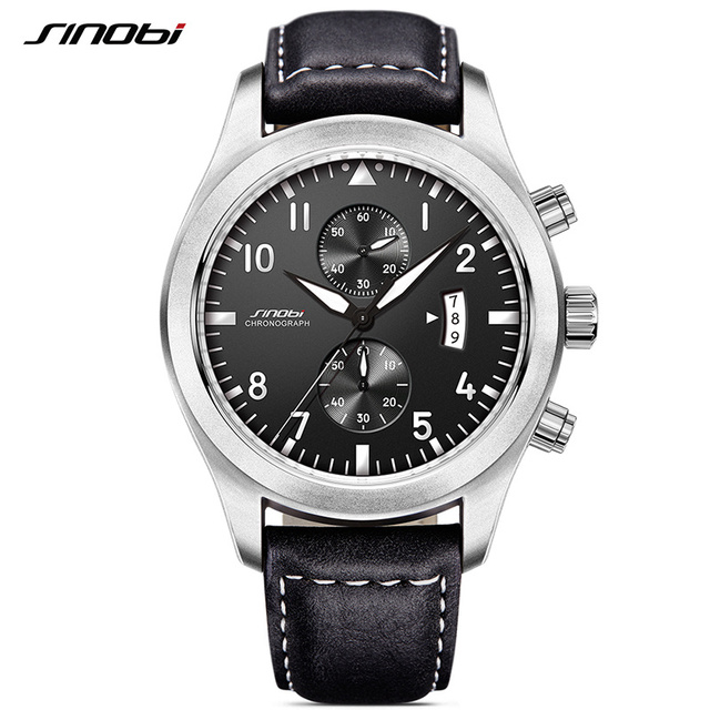 SINOBI Mens Military Chronograph Wrist Watches Date Leather Clock Luxury Brand Male Sports Shock Geneva Quartz Wristwatches 2017