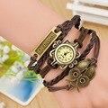 Couro moda DIY Weave Knit Coruja Sonho Banda Cobre Cuff Pulseira Do Vintage Relógios de Pulso para As Mulheres Senhoras Feminino OP001