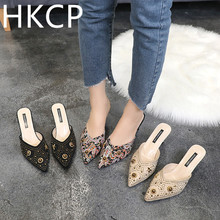 HKCP Fashion New 2019 spring/summer all-in-one pumps with pointed stiletto heels, rivets and flip-flops C131