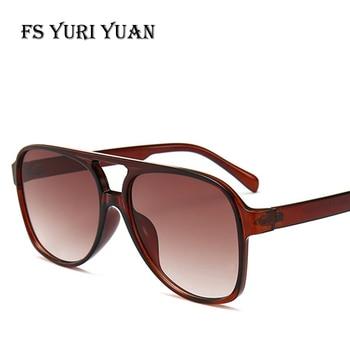 cc380925ee Gafas de sol de aviador de moda Retro de FS YURI YUAN ovaladas de gran  tamaño con montura de Color caramelo lentes de lujo para mujer diseñador de  marca