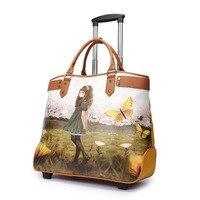 KUNDUI Vẻ Đẹp/Bướm Đi xe đẩy hành lý túi siêu mặc PU vali top chất lượng canvas lăn mới phụ nữ túi valiz