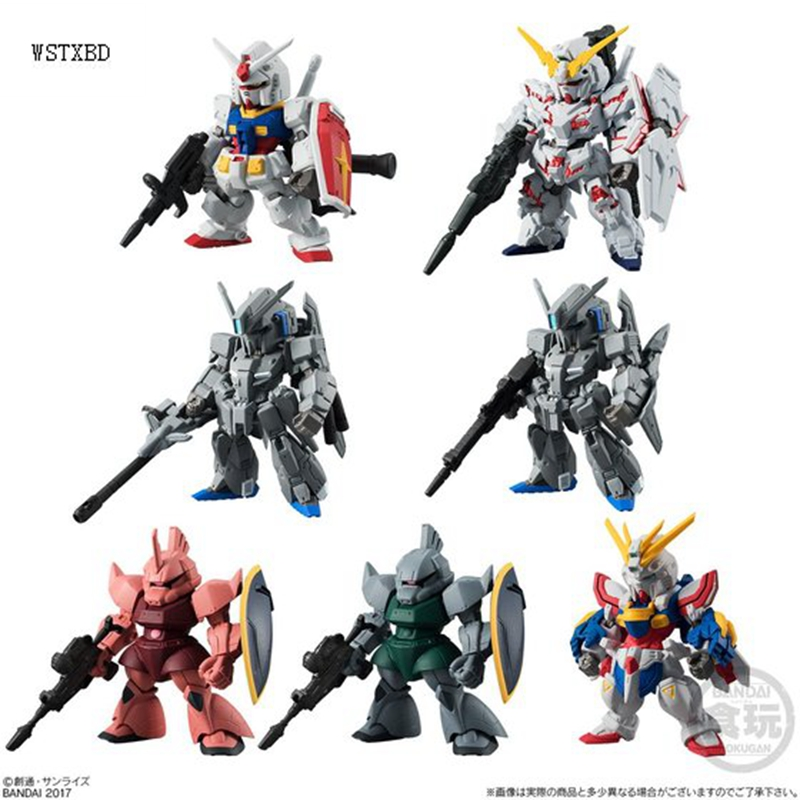 WSTXBD Original BANDAI 7 Pcs/Set Q Version FW Gundam Converge#08 162-168 PVC Figure Toys Figurals Model Kids Dolls Brinquedos bandai bandai gundam model sd q version bb 309 sangokuden wu yong bian xiahou yuan battle