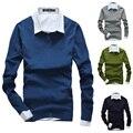 2016 Nueva Pullover Suéteres Con Cuello En V de Punto de Los Hombres Suéter de Los Hombres de la Alta Calidad Caliente Del Otoño Hombres Suéter de la Capa Sueter Hombre Plus tamaño
