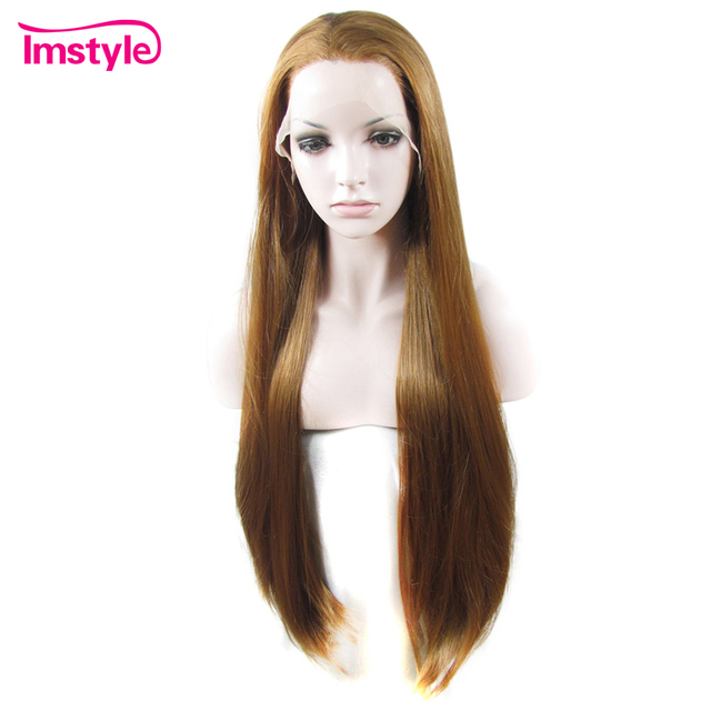 Imstyle Straight Long Golden Blonde Lace Front Wigs For Women Heat