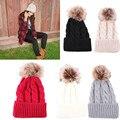 Marca 2016 Mulheres Primavera Chapéus de Inverno Gorros de Malha Cap Chapéu de Crochê Pele De Coelho Pompons Ear Proteja Cap Chapeu Feminino Casuais
