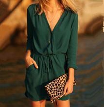 Beste Qualität Cocktail Beiläufiges Chiffon-Strand Langarm Frauen Kleid Sexy Party Fashion Stil