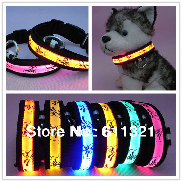 Free Shipping Pet Dog Cat LED Glow Collar Nylon Electric Training Collars Products for Dogs Pluto Designs S M L XL #3772