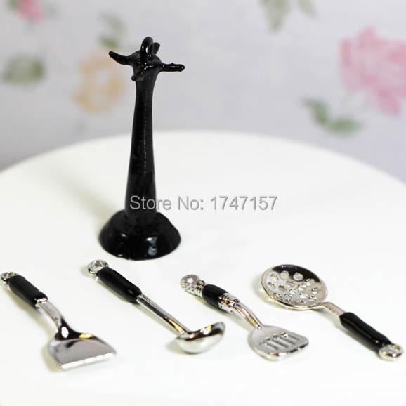 Placeholder 1 12 Dollhouse Miniature Kitchenware Kitchen Utensil Stand Hanging Cooking Utensils Set Accessories Toys