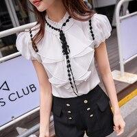 original 2018 brand summer style palace slim vintage ruffles white short sleeved OL office shirt women wholesale
