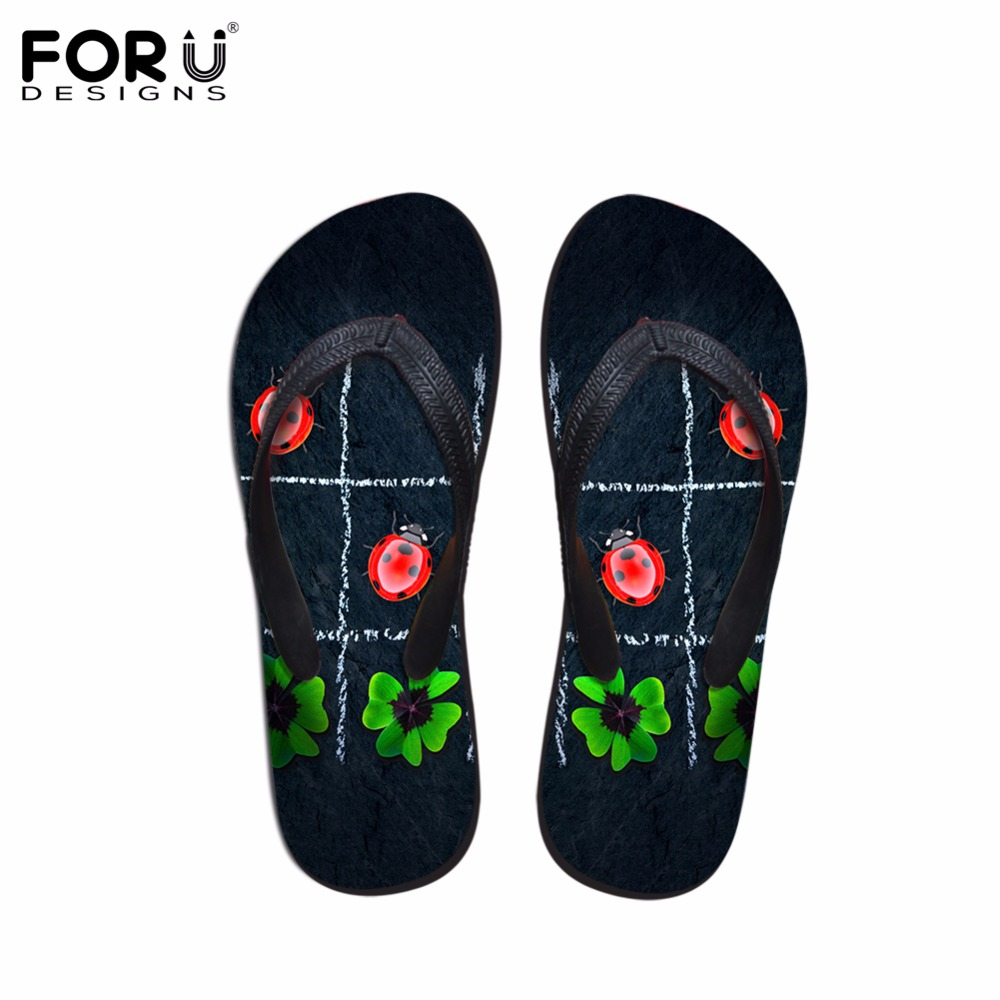 FORUDESIGNS Flip Flops Women Summer Ladybug Printed Flats Flipflops for Women 3D Leaf Beach Sandals Woman Ladies Water Shoes instantarts women casual light beach flats sandals 3d skull punk printed air mesh slip on woman slipper ladies comfortable shoes