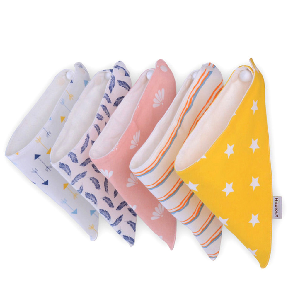 New 2 Pcs/lot Cartoon Baby Bibs WIth Buckle Newborn Cotton Soft Triangle Scarf Chestpiece Saliva Towel Toddlers Burp Clothing