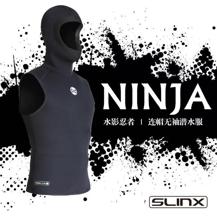 3mm Neoprene Wetsuit Sleeveless Jacket Men Hooded Scuba Diving Vest for Snorkeling Spearfishing Surfing Kite Basic Skin Wet Suit slinx spro 1103 3mm neoprene men spearfishing kite surfing scuba diving suit snorkeling boating short sleeve wetsuit swimwear