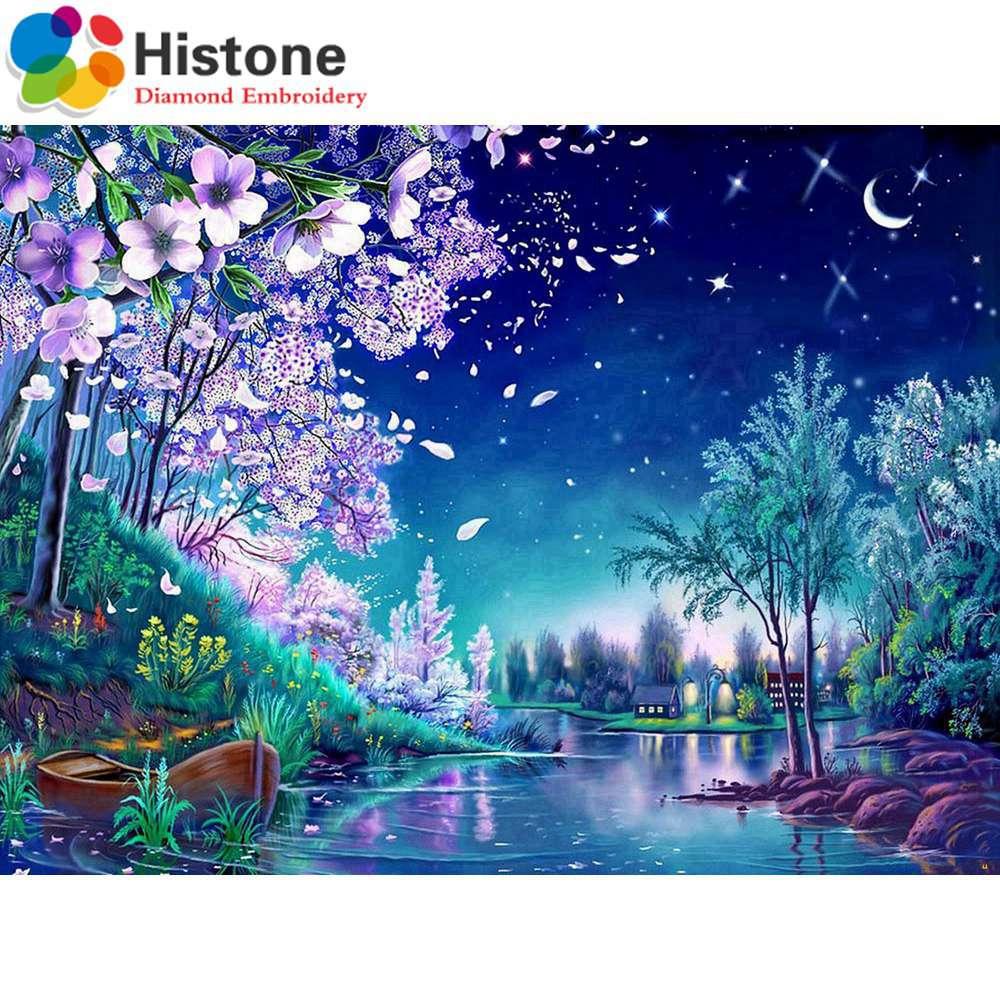 ΞDIY diamante pintura paisaje redondo diamante mosaico completo ...