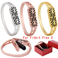 Fashion Stainless Steel Accessory Bangle Watch Band Wrist strap For Fitbit Flex 2 Women Smart Watch Band Link Strap Bracelet