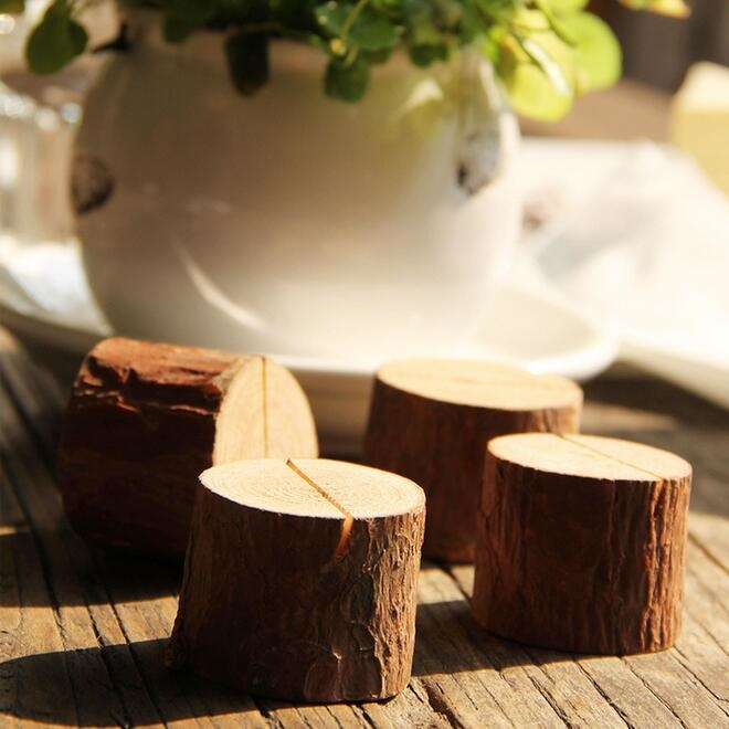 1pcs Vintage Simple Nature Tree Stump Design Wooden DIY Meaasge Clip Photo Seat Students' Gift Prize School Office Supplies