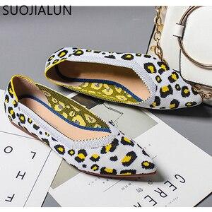Image 2 - Suojialun 2019 新春の女性のフラットヒョウ柄女性靴カジュアルシングル靴のバレリーナ女性浅い口の靴