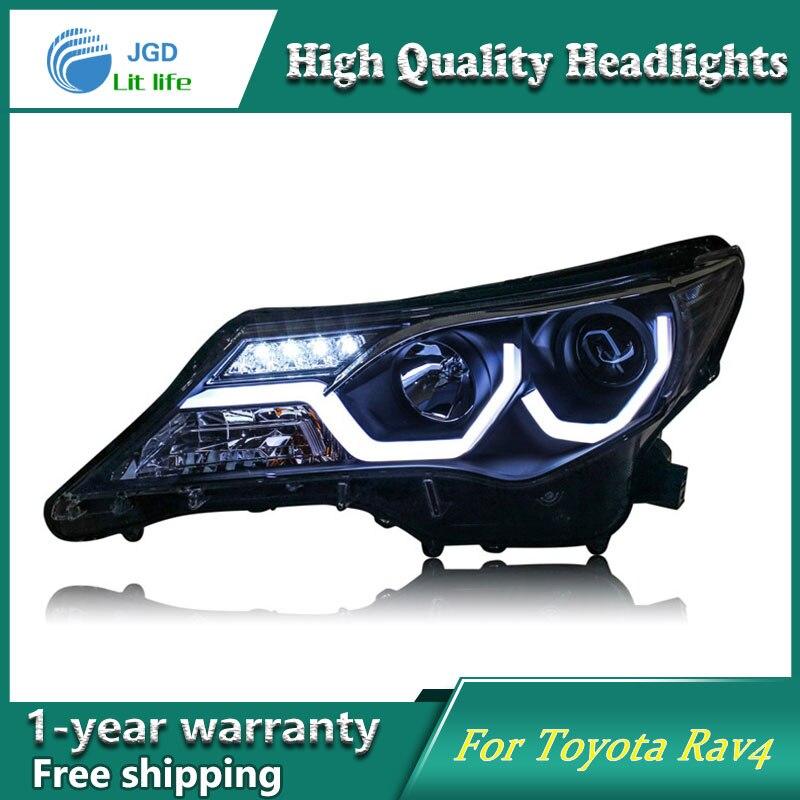 Глава стайлинга автомобилей чехол фонарь для Тойота РАВ4 фара РАВ4 2013-2015 Сентра светодиодные фары DRL Лампа H7 спрятал би ксенон d2h по параметр пучка