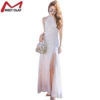 Women White Lace Maxi Dress Bohemian Boho Style Beach Female Halter Sleeveless Long Sexy Split Holiday