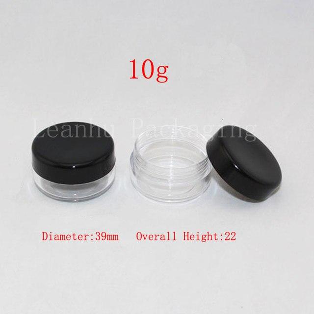 10g round empty plastic clear jar with black lid 13 oz plastic